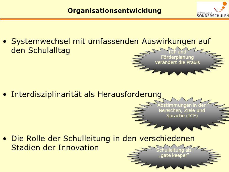 Organisationsentwicklung Systemwechsel mit umfassenden Auswirkungen auf den Schulalltag Interdisziplinarität als Herausforderung Die Rolle der Schulle
