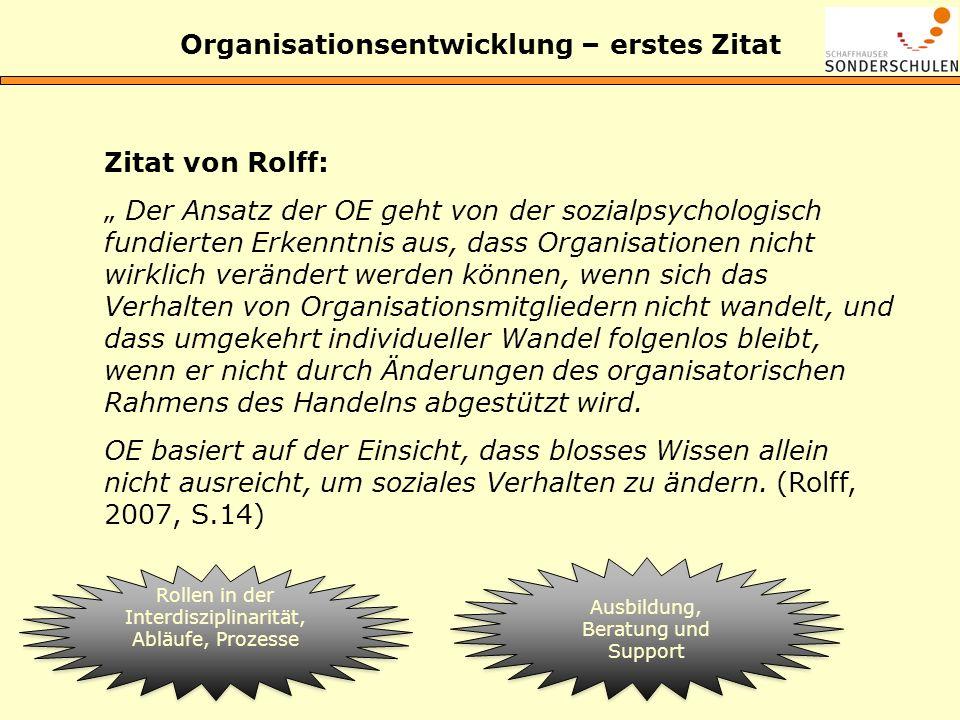 Organisationsentwicklung – erstes Zitat Zitat von Rolff: Der Ansatz der OE geht von der sozialpsychologisch fundierten Erkenntnis aus, dass Organisati