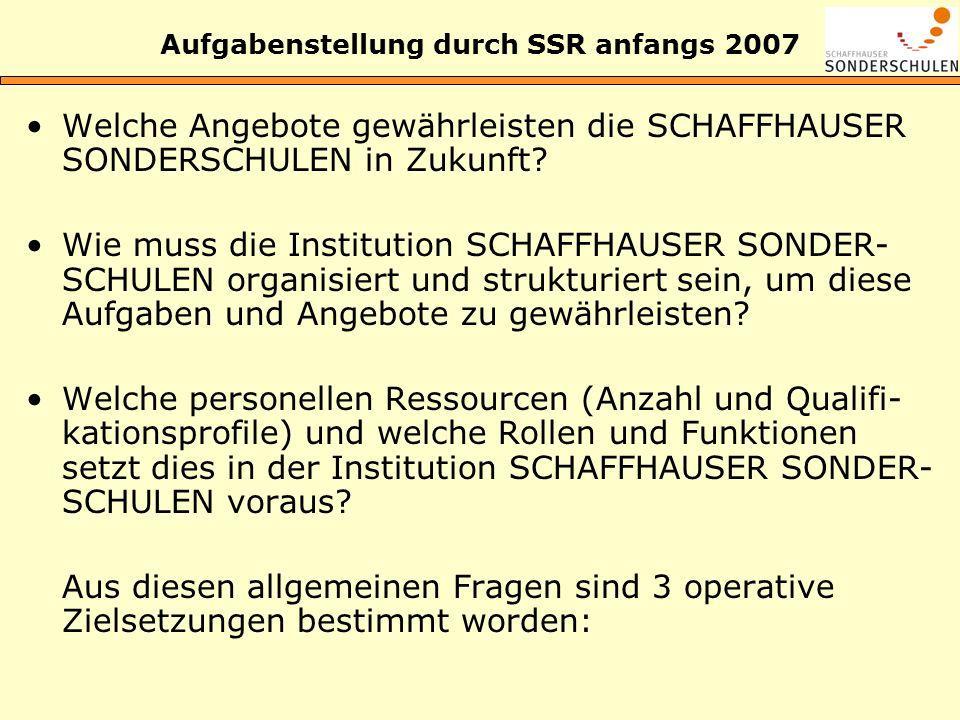Aufgabenstellung durch SSR anfangs 2007 Welche Angebote gewährleisten die SCHAFFHAUSER SONDERSCHULEN in Zukunft? Wie muss die Institution SCHAFFHAUSER