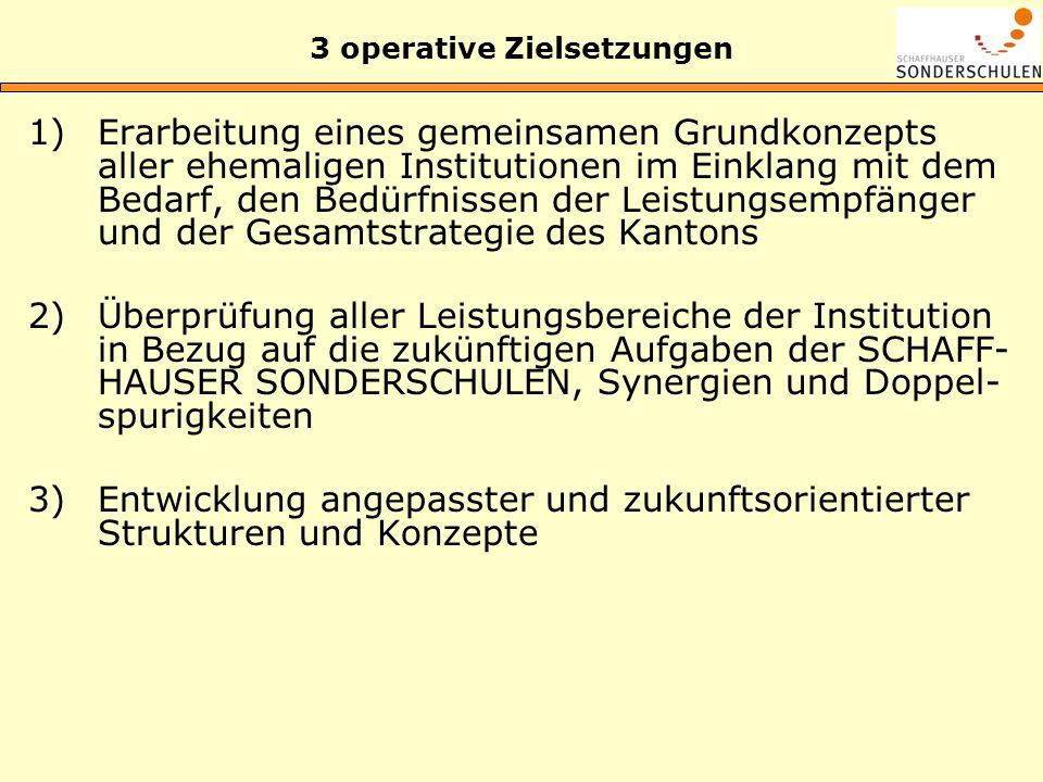 3 operative Zielsetzungen 1)Erarbeitung eines gemeinsamen Grundkonzepts aller ehemaligen Institutionen im Einklang mit dem Bedarf, den Bedürfnissen de