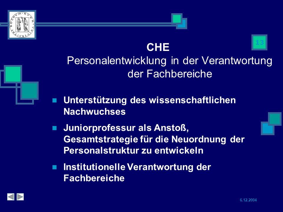 6.12.2004 13 CHE Personalentwicklung in der Verantwortung der Fachbereiche Unterstützung des wissenschaftlichen Nachwuchses Juniorprofessur als Anstoß, Gesamtstrategie für die Neuordnung der Personalstruktur zu entwickeln Institutionelle Verantwortung der Fachbereiche