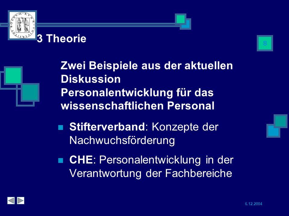 6.12.2004 8 3 Theorie Zwei Beispiele aus der aktuellen Diskussion Personalentwicklung für das wissenschaftlichen Personal Stifterverband: Konzepte der Nachwuchsförderung CHE: Personalentwicklung in der Verantwortung der Fachbereiche