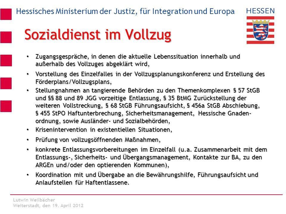 Hessisches Ministerium der Justiz, für Integration und Europa Lutwin Weilbächer Kassel, den 06. März 2012 Sozialdienst im Vollzug Zugangsgespräche, in