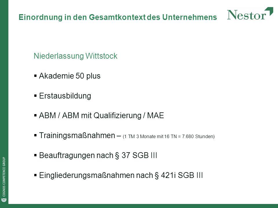 Einordnung in den Gesamtkontext des Unternehmens Niederlassung Wittstock Akademie 50 plus Erstausbildung ABM / ABM mit Qualifizierung / MAE Trainingsmaßnahmen – (1 TM 3 Monate mit 16 TN = 7.680 Stunden) Beauftragungen nach § 37 SGB III Eingliederungsmaßnahmen nach § 421i SGB III