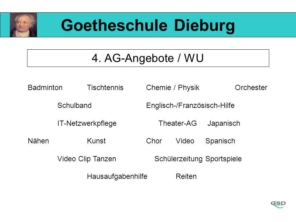 Goetheschule Dieburg 4. AG-Angebote / WU BadmintonTischtennisChemie / PhysikOrchester SchulbandEnglisch-/Französisch-Hilfe IT-Netzwerkpflege Theater-A