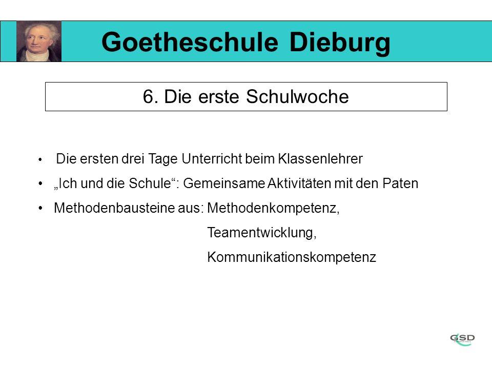 Goetheschule Dieburg 6. Die erste Schulwoche Die ersten drei Tage Unterricht beim Klassenlehrer Ich und die Schule: Gemeinsame Aktivitäten mit den Pat