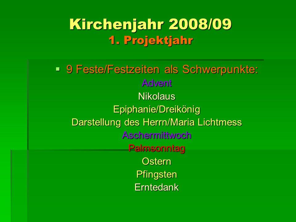 Kirchenjahr 2008/09 1. Projektjahr 9 Feste/Festzeiten als Schwerpunkte: 9 Feste/Festzeiten als Schwerpunkte:AdventNikolausEpiphanie/Dreikönig Darstell