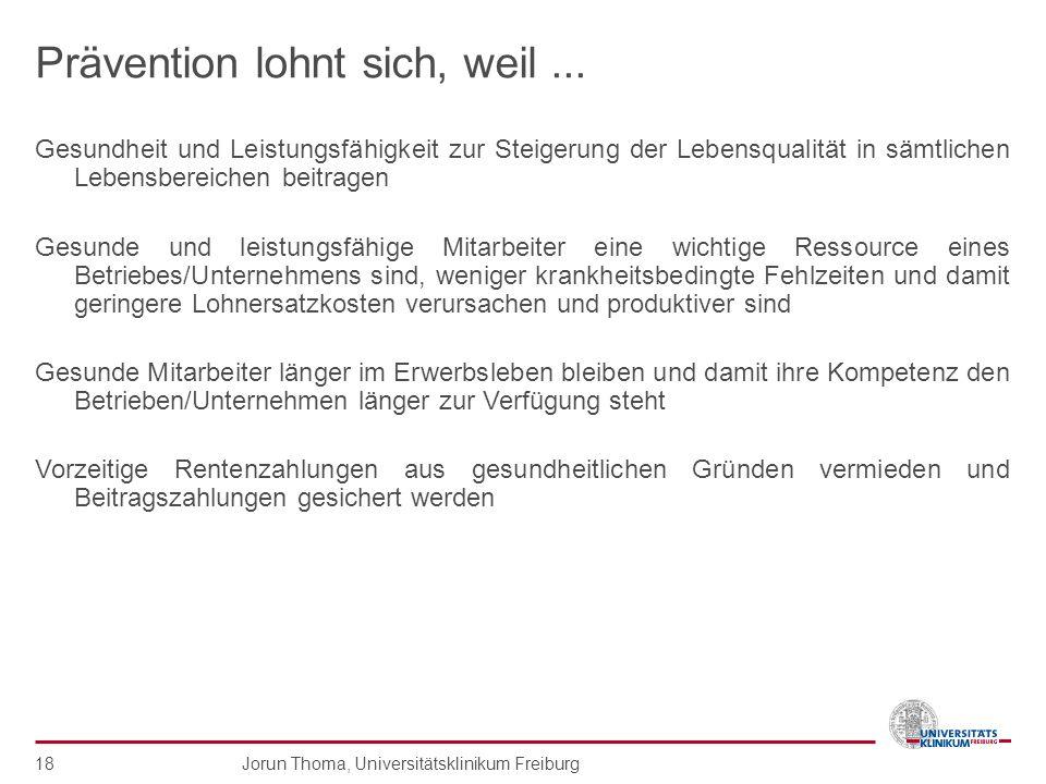 Jorun Thoma, Universitätsklinikum Freiburg 18 Prävention lohnt sich, weil... Gesundheit und Leistungsfähigkeit zur Steigerung der Lebensqualität in sä