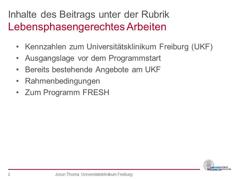 Inhalte des Beitrags unter der Rubrik Kennzahlen zum Universitätsklinikum Freiburg (UKF) Ausgangslage vor dem Programmstart Bereits bestehende Angebot