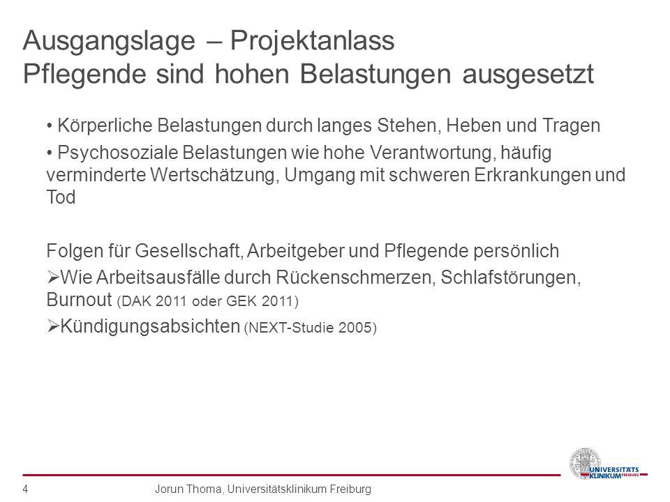 Jorun Thoma, Universitätsklinikum Freiburg 4 Ausgangslage – Projektanlass Pflegende sind hohen Belastungen ausgesetzt Körperliche Belastungen durch la