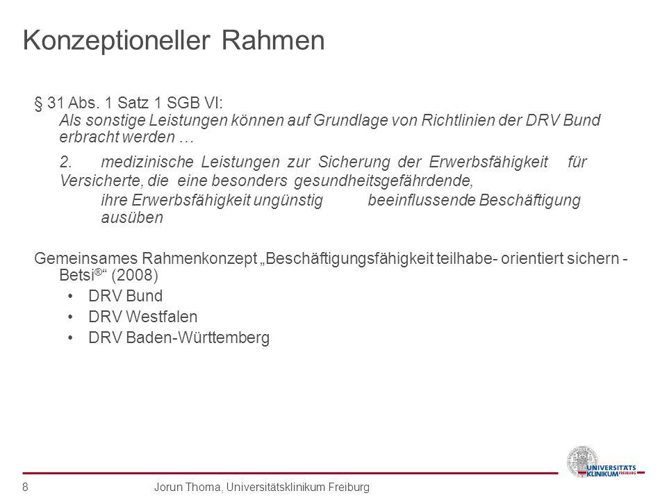 Jorun Thoma, Universitätsklinikum Freiburg 8 Konzeptioneller Rahmen § 31 Abs. 1 Satz 1 SGB VI: Als sonstige Leistungen können auf Grundlage von Richtl