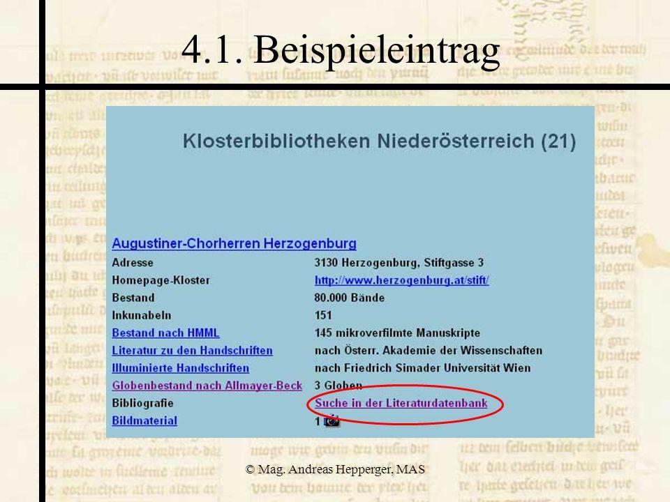 © Mag. Andreas Hepperger, MAS 4.1. Beispieleintrag