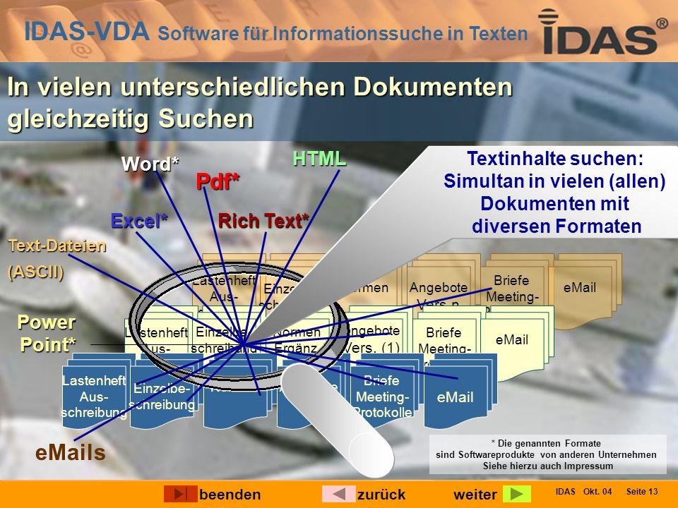 IDAS-VDA Software für Informationssuche in Texten IDAS Okt. 04 Seite 13 * Die genannten Formate sind Softwareprodukte von anderen Unternehmen Siehe hi
