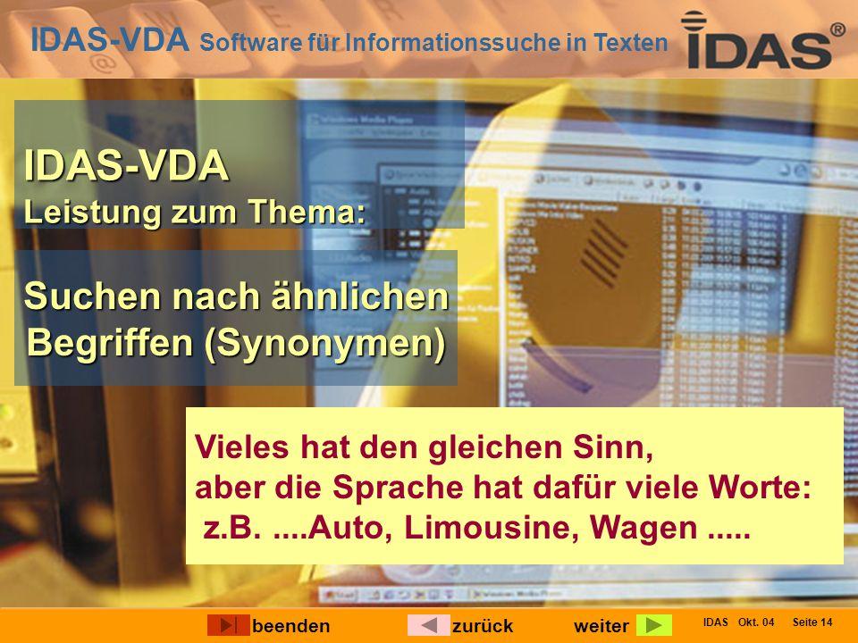 IDAS-VDA Software für Informationssuche in Texten IDAS Okt. 04 Seite 14 IDAS-VDA Leistung zum Thema: Suchen nach ähnlichen Begriffen (Synonymen) Viele