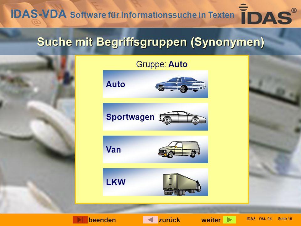 IDAS-VDA Software für Informationssuche in Texten IDAS Okt. 04 Seite 15 Suche mit Begriffsgruppen (Synonymen) Gruppe: Auto weiterbeendenzurück Van Spo