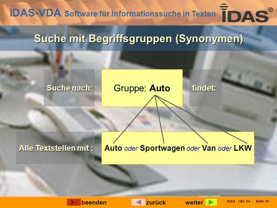 IDAS-VDA Software für Informationssuche in Texten IDAS Okt. 04 Seite 16 Suche mit Begriffsgruppen (Synonymen) Gruppe: Auto Suche nach: findet: Alle Te