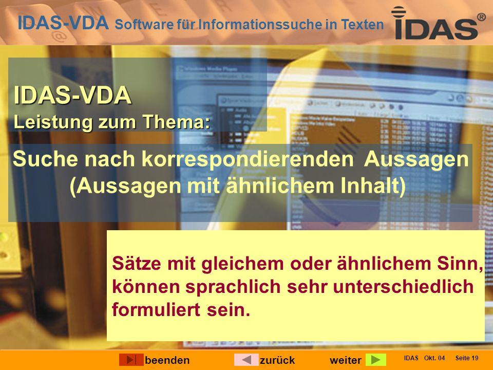 IDAS-VDA Software für Informationssuche in Texten IDAS Okt. 04 Seite 19 IDAS-VDA Leistung zum Thema: Suche nach korrespondierenden Aussagen (Aussagen