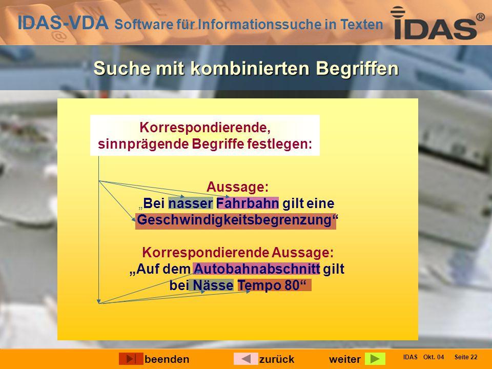 IDAS-VDA Software für Informationssuche in Texten IDAS Okt. 04 Seite 22 Ermöglicht Auffinden von korrespondierenden Aussagen Aussage: Korrespondierend