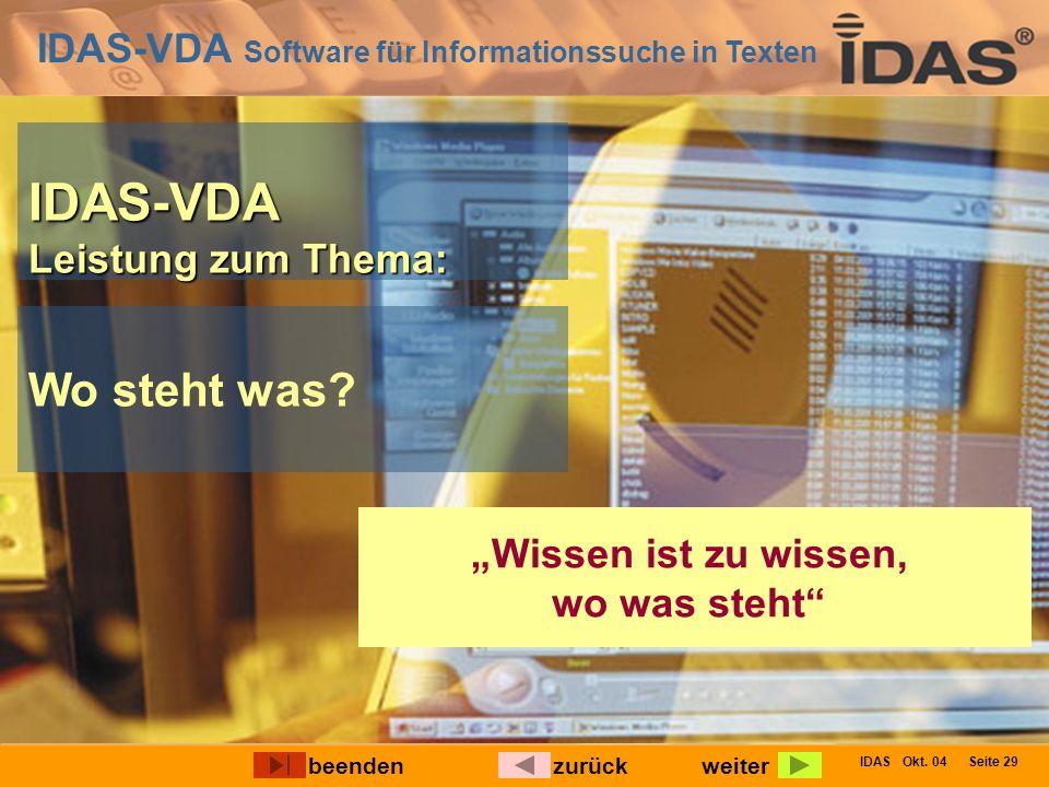 IDAS-VDA Software für Informationssuche in Texten IDAS Okt. 04 Seite 29 IDAS-VDA Leistung zum Thema: Wo steht was? Wissen ist zu wissen, wo was steht