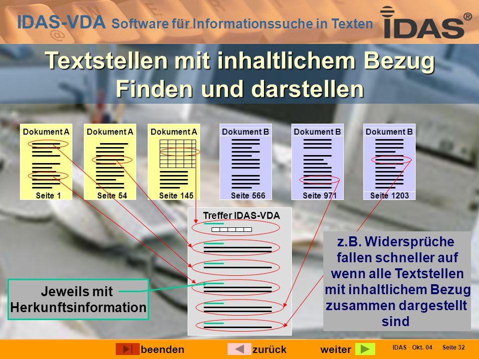IDAS-VDA Software für Informationssuche in Texten IDAS Okt. 04 Seite 32 Textstellen mit inhaltlichem Bezug Finden und darstellen Dokument A Seite 1 Do