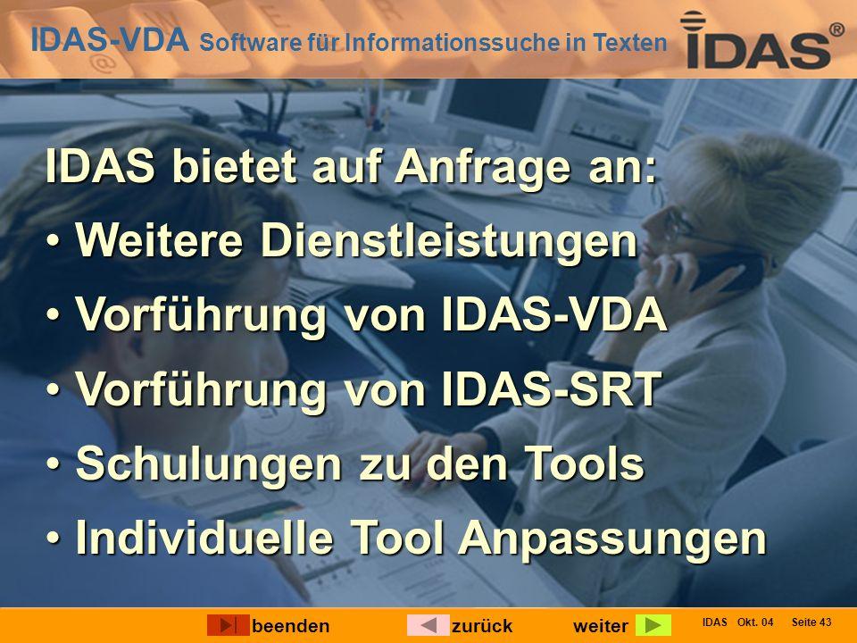 IDAS-VDA Software für Informationssuche in Texten IDAS Okt. 04 Seite 43 IDAS bietet auf Anfrage an: Weitere Dienstleistungen Weitere Dienstleistungen