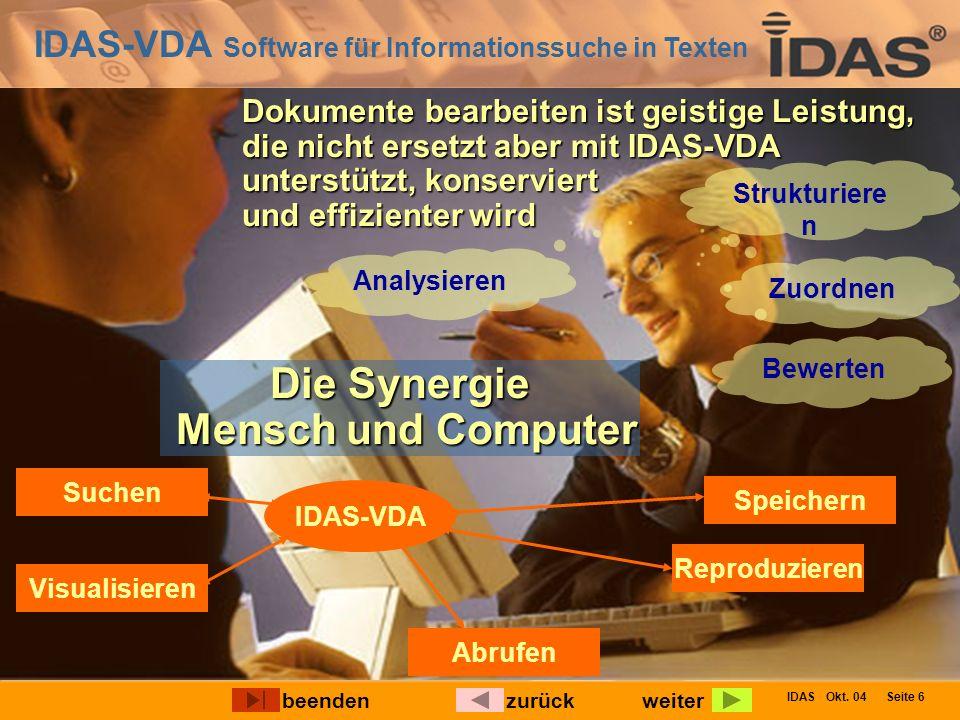 IDAS-VDA Software für Informationssuche in Texten IDAS Okt. 04 Seite 6 Dokumente bearbeiten ist geistige Leistung, die nicht ersetzt aber mit IDAS-VDA