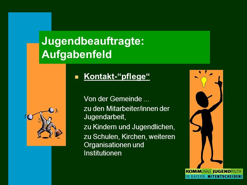 Jugendbeauftragte: Aufgabenfeld n Kontakt-pflege Von der Gemeinde... zu den Mitarbeiter/innen der Jugendarbeit, zu Kindern und Jugendlichen, zu Schule