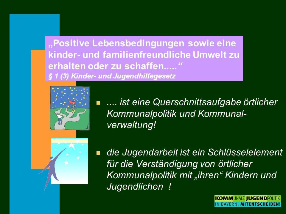 Positive Lebensbedingungen sowie eine kinder- und familienfreundliche Umwelt zu erhalten oder zu schaffen..... § 1 (3) Kinder- und Jugendhilfegesetz n