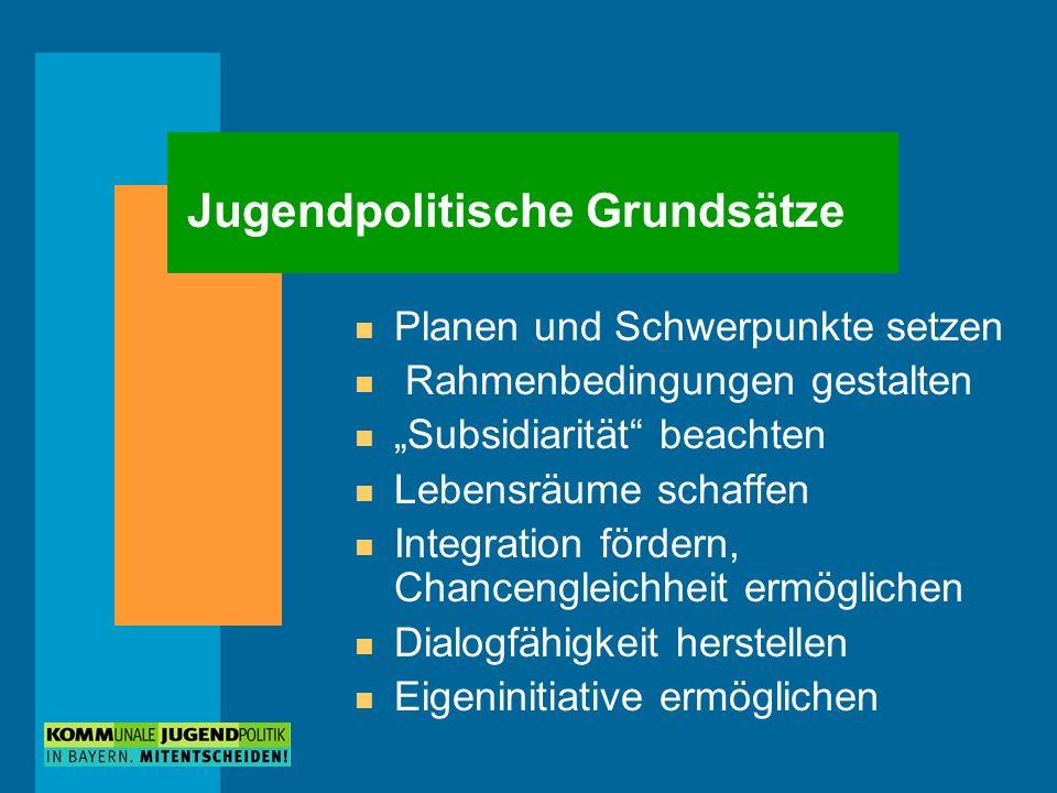 Jugendpolitische Grundsätze n Planen und Schwerpunkte setzen n Rahmenbedingungen gestalten n Subsidiarität beachten n Lebensräume schaffen n Integrati