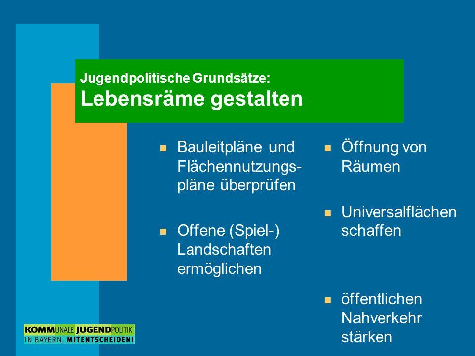 Jugendpolitische Grundsätze: Lebensräme gestalten n Bauleitpläne und Flächennutzungs- pläne überprüfen n Offene (Spiel-) Landschaften ermöglichen n Öf