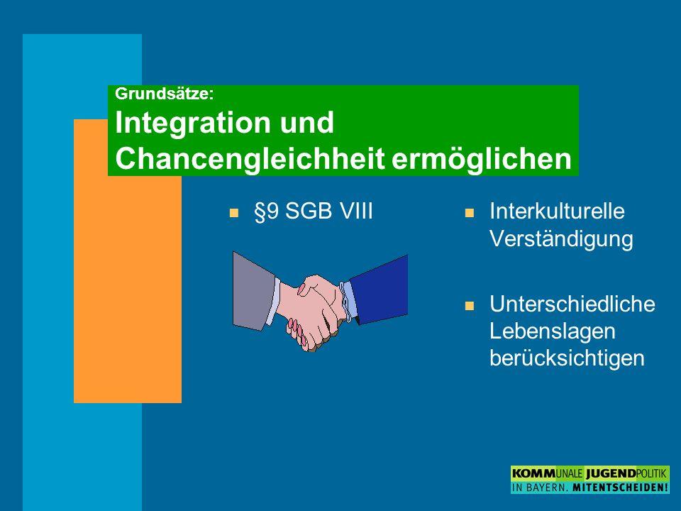 Grundsätze: Integration und Chancengleichheit ermöglichen n §9 SGB VIII n Interkulturelle Verständigung n Unterschiedliche Lebenslagen berücksichtigen