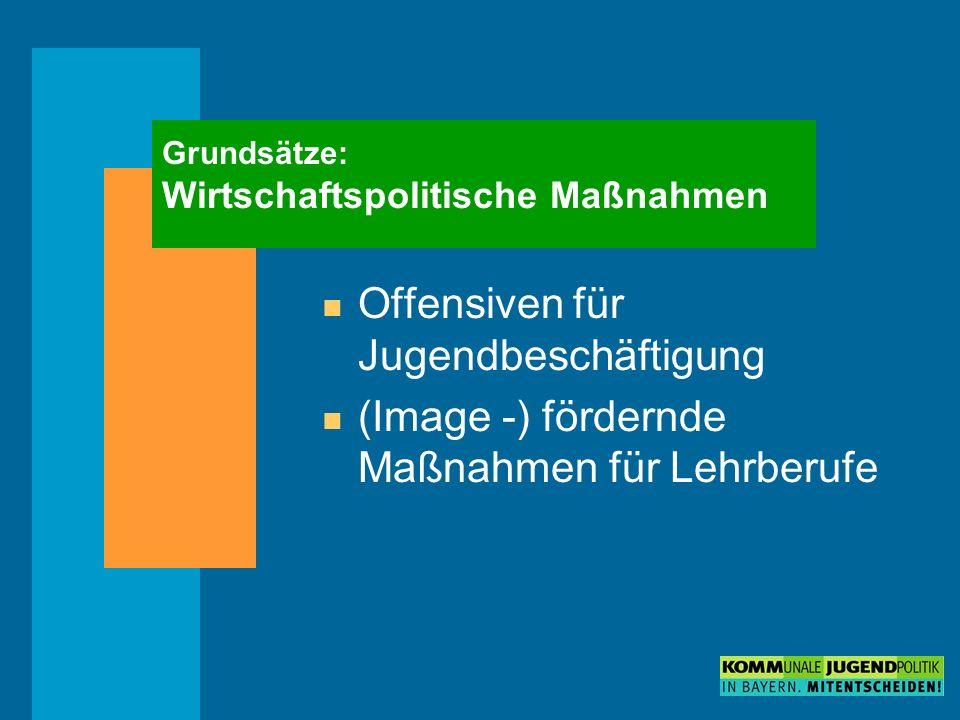 Grundsätze: Wirtschaftspolitische Maßnahmen n Offensiven für Jugendbeschäftigung n (Image -) fördernde Maßnahmen für Lehrberufe