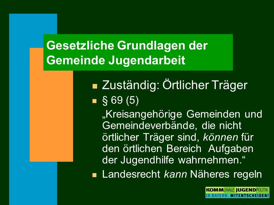 Gesetzliche Grundlagen der Gemeinde Jugendarbeit n Zuständig: Örtlicher Träger n § 69 (5) Kreisangehörige Gemeinden und Gemeindeverbände, die nicht ör