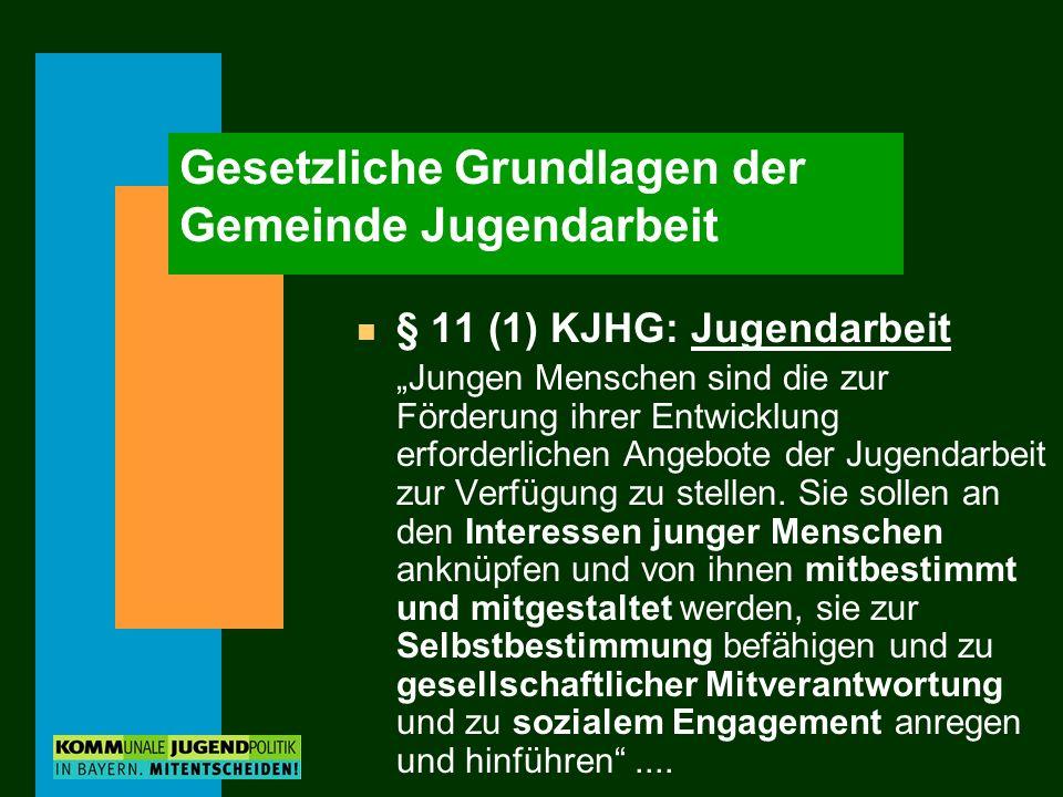 Gesetzliche Grundlagen der Gemeinde Jugendarbeit n § 11 (1) KJHG: Jugendarbeit Jungen Menschen sind die zur Förderung ihrer Entwicklung erforderlichen Angebote der Jugendarbeit zur Verfügung zu stellen.