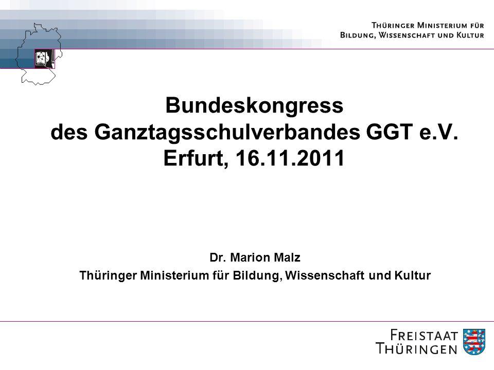 12 Entwicklung von Ganztagsschulen Die Thüringer Schule ist konzipiert als Schule mit (ganztägigen) Angeboten in den vier Dimensionen: 1.