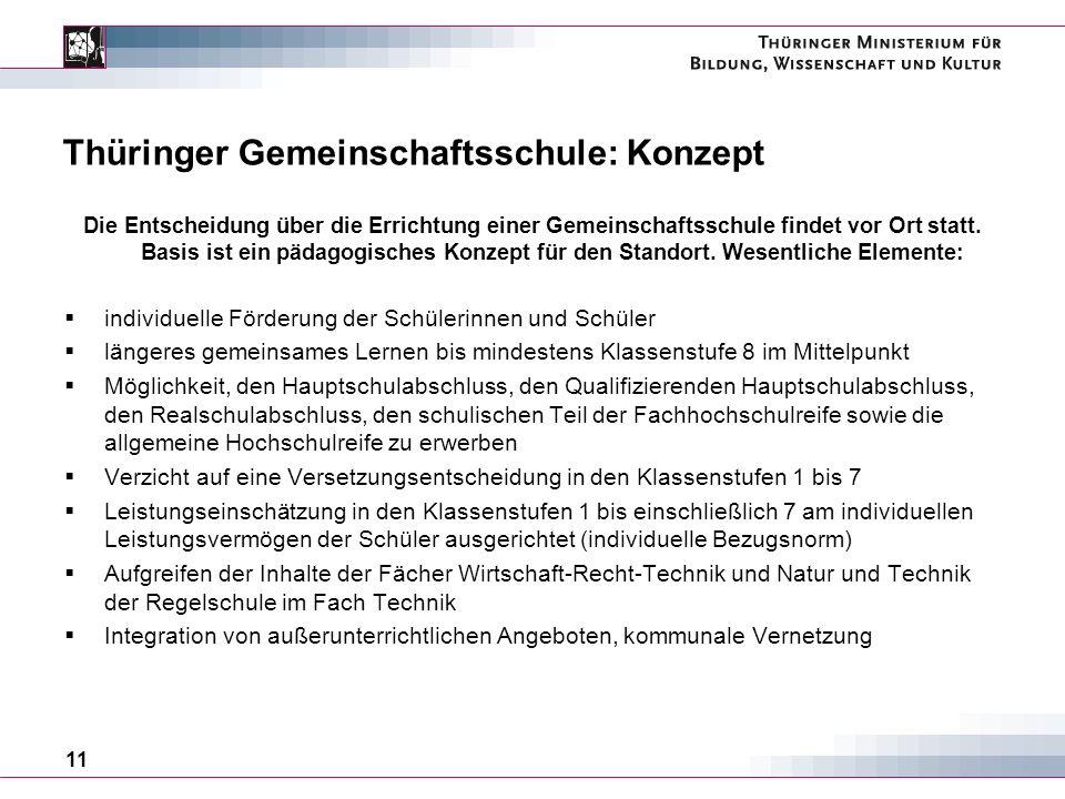 11 Thüringer Gemeinschaftsschule: Konzept Die Entscheidung über die Errichtung einer Gemeinschaftsschule findet vor Ort statt.