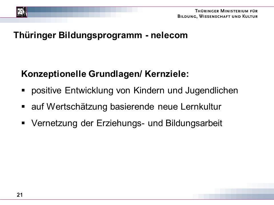 21 Thüringer Bildungsprogramm - nelecom Konzeptionelle Grundlagen/ Kernziele: positive Entwicklung von Kindern und Jugendlichen auf Wertschätzung basierende neue Lernkultur Vernetzung der Erziehungs- und Bildungsarbeit