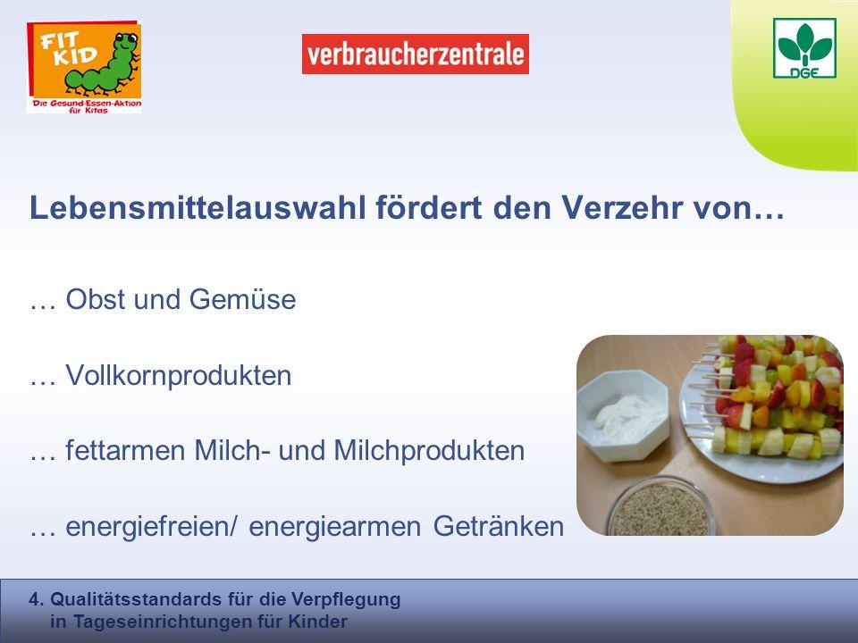 Lebensmittelauswahl fördert den Verzehr von… … Obst und Gemüse … Vollkornprodukten … fettarmen Milch- und Milchprodukten … energiefreien/ energiearmen