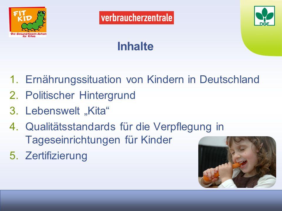 Inhalte 1.Ernährungssituation von Kindern in Deutschland 2.Politischer Hintergrund 3.Lebenswelt Kita 4.Qualitätsstandards für die Verpflegung in Tages