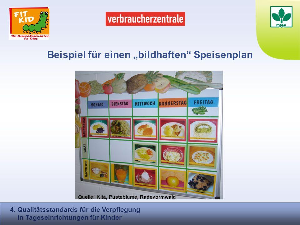 Beispiel für einen bildhaften Speisenplan 4. Qualitätsstandards für die Verpflegung in Tageseinrichtungen für Kinder Quelle: Kita, Pusteblume, Radevor