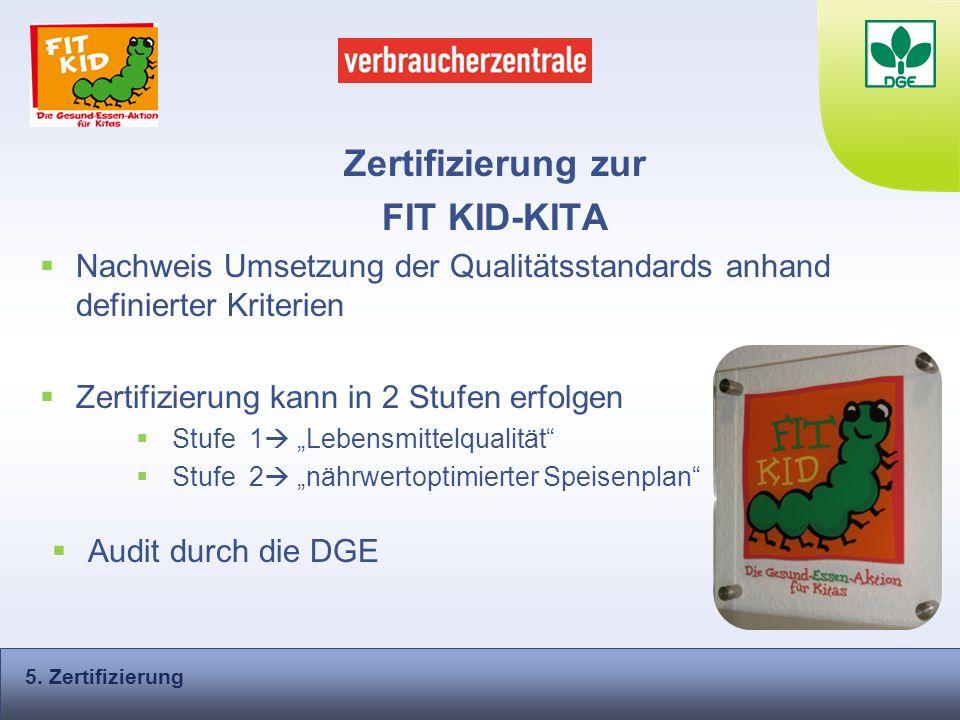 Zertifizierung zur FIT KID-KITA Nachweis Umsetzung der Qualitätsstandards anhand definierter Kriterien Zertifizierung kann in 2 Stufen erfolgen Stufe