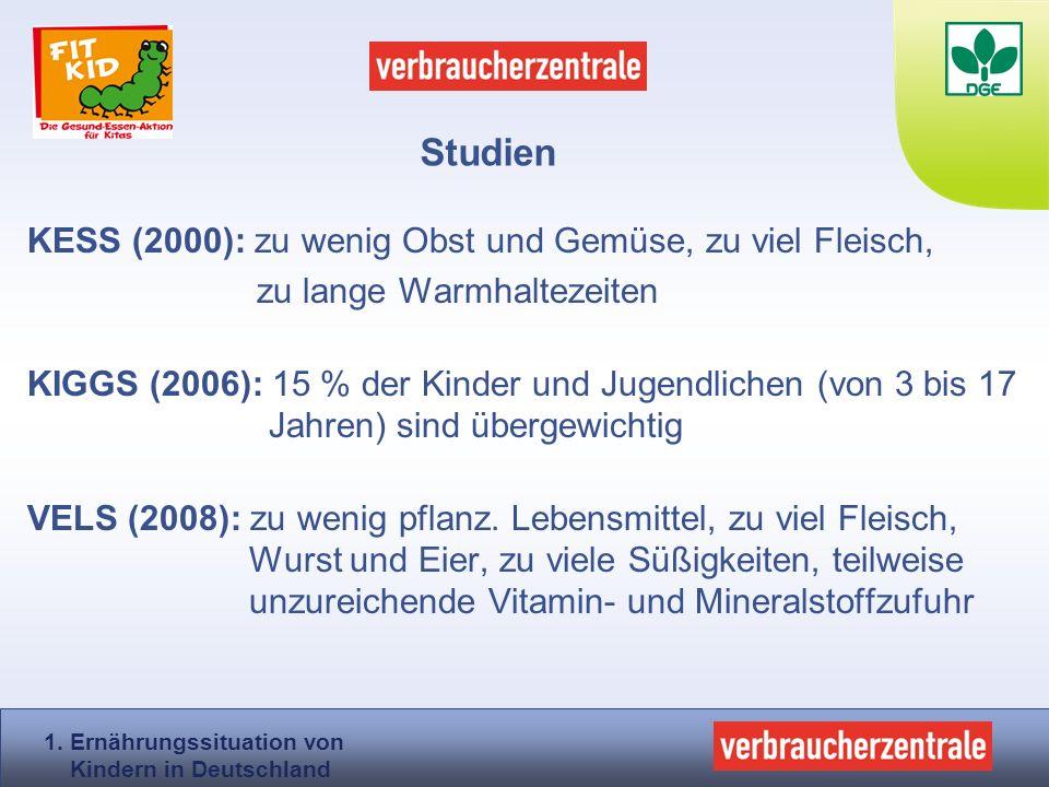KESS (2000): zu wenig Obst und Gemüse, zu viel Fleisch, zu lange Warmhaltezeiten KIGGS (2006): 15 % der Kinder und Jugendlichen (von 3 bis 17 Jahren)