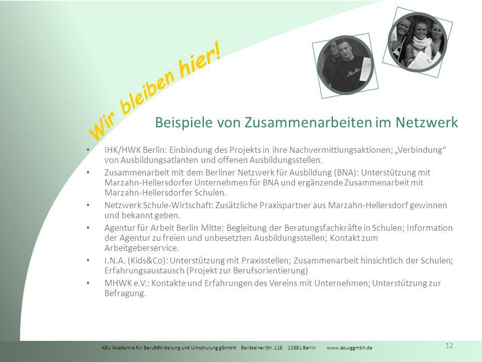 ABU Akademie für Berufsförderung und Umschulung gGmbH Beilsteiner Str. 118 12681 Berlin www.abu-ggmbh.de Wir bleiben hier! 12 Beispiele von Zusammenar