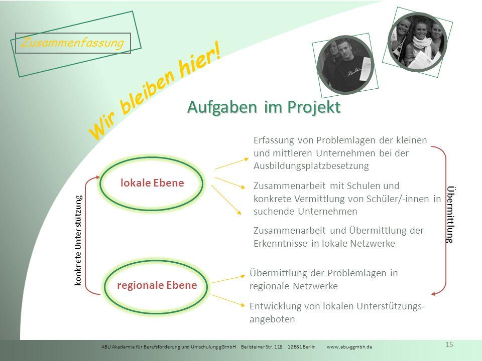 ABU Akademie für Berufsförderung und Umschulung gGmbH Beilsteiner Str. 118 12681 Berlin www.abu-ggmbh.de Wir bleiben hier! 15 Aufgaben im Projekt loka