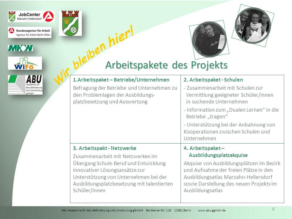 ABU Akademie für Berufsförderung und Umschulung gGmbH Beilsteiner Str. 118 12681 Berlin www.abu-ggmbh.de Wir bleiben hier! 6 Arbeitspakete des Projekt