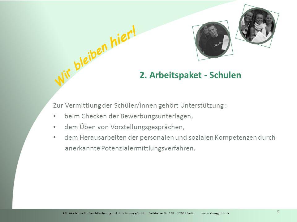 ABU Akademie für Berufsförderung und Umschulung gGmbH Beilsteiner Str. 118 12681 Berlin www.abu-ggmbh.de Wir bleiben hier! 9 2. Arbeitspaket - Schulen