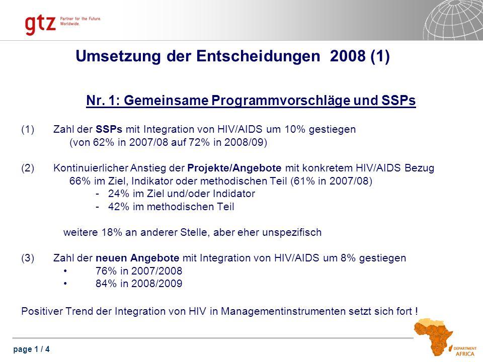 page 1 / 4 Umsetzung der Entscheidungen 2008 (1) Nr. 1: Gemeinsame Programmvorschläge und SSPs (1)Zahl der SSPs mit Integration von HIV/AIDS um 10% ge