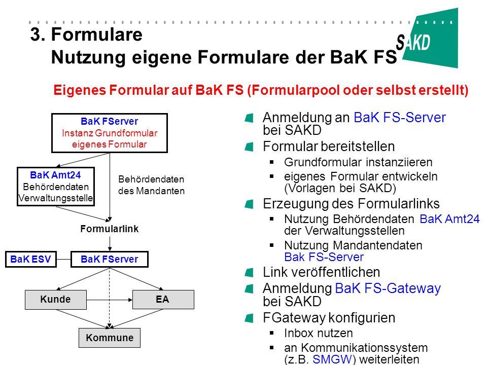 3. Formulare Nutzung eigene Formulare der BaK FS Anmeldung an BaK FS-Server bei SAKD Formular bereitstellen Grundformular instanziieren eigenes Formul