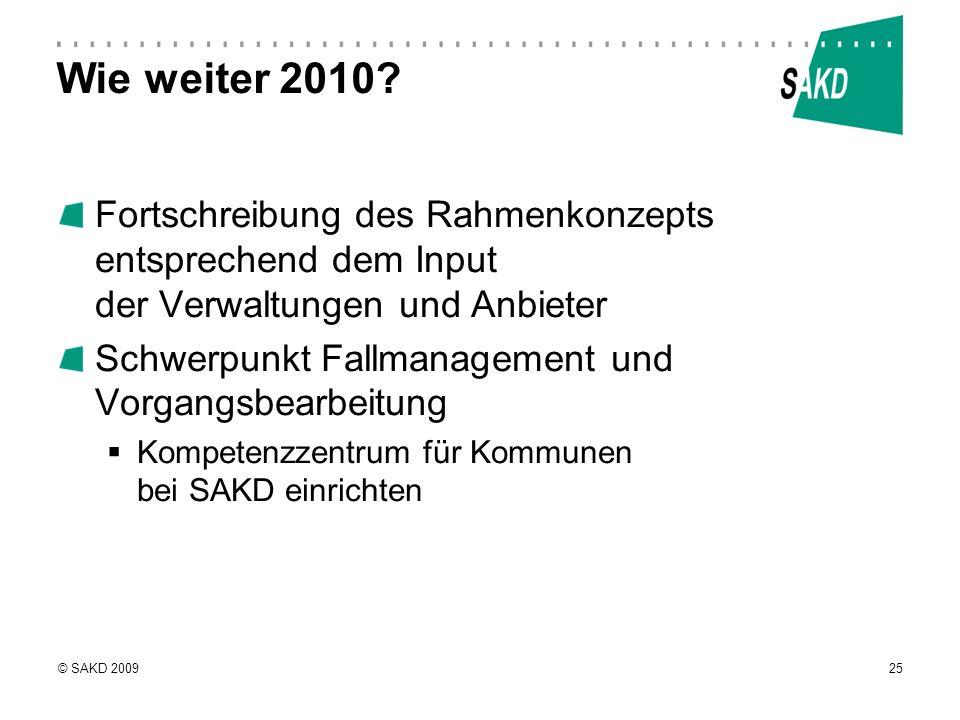 © SAKD 200925 Wie weiter 2010? Fortschreibung des Rahmenkonzepts entsprechend dem Input der Verwaltungen und Anbieter Schwerpunkt Fallmanagement und V