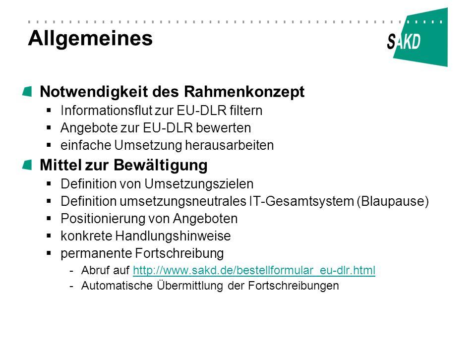 Allgemeines Notwendigkeit des Rahmenkonzept Informationsflut zur EU-DLR filtern Angebote zur EU-DLR bewerten einfache Umsetzung herausarbeiten Mittel